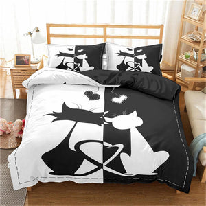 Black And White Love Cats Duvet Cover Set