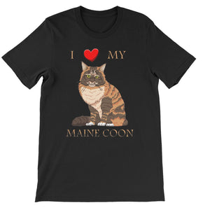 I Love My Maine Coon Short Sleeve T-shirt