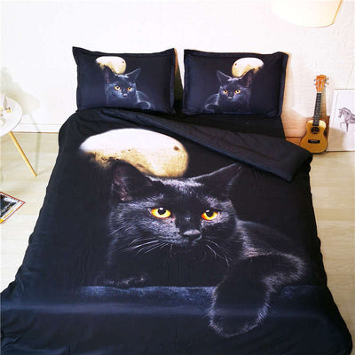 3-D Moon Cat Duvet Cover Set