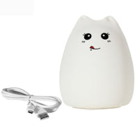 Multi-color USB Rechargeable Silicone Cat  LED Night Light