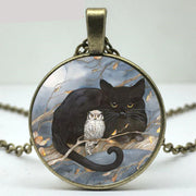 Black Cat And Owl Necklace
