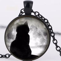 Black Cat Moon Necklace