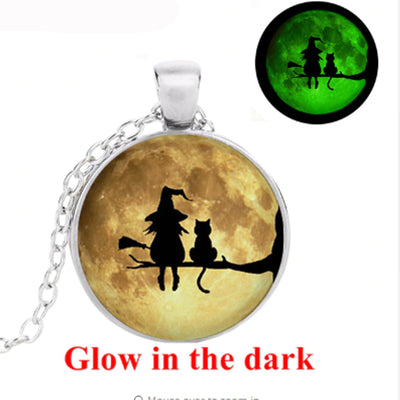 Witch and Cat Glowing Necklace