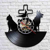 God,Dog And Cat LED Clock