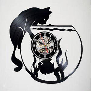 Playful Cat In Fishbowl Clock