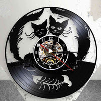 Double Love Cat And Fishbone Clock