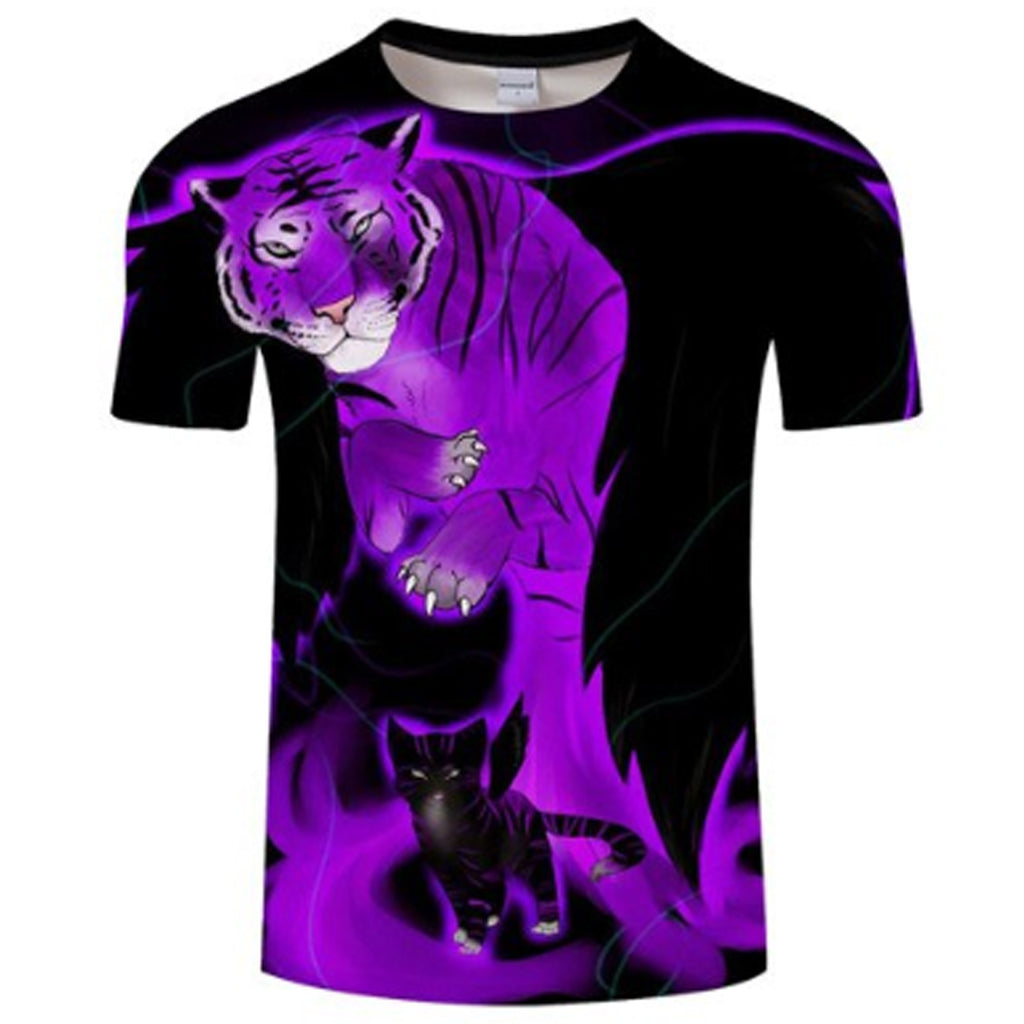 Purple Tiger Black Cat 3D T Shirt