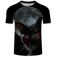 Red Eyed Black Cat 3D T Shirt