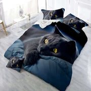 Beautiful Black Cat Duvet Cover Set