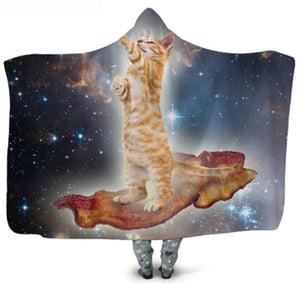 Funny Orange Cat N Bacon Plush Coat Cat Blanket