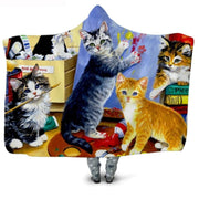 Hooded  Plush Coat Cat Blanket