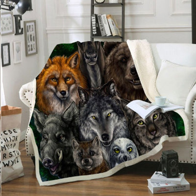 Multi Wolf Couch Quilt