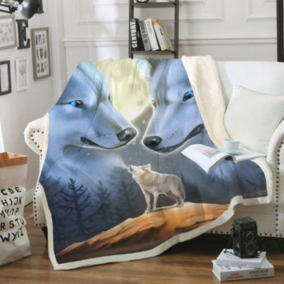 Double White Wolf Couch Quilt