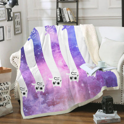 Purple And White Space Cat Couch Quilt