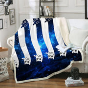 Blue And White Space Cat Couch Quilt