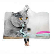 3-D Party Cat Hooded Blanket