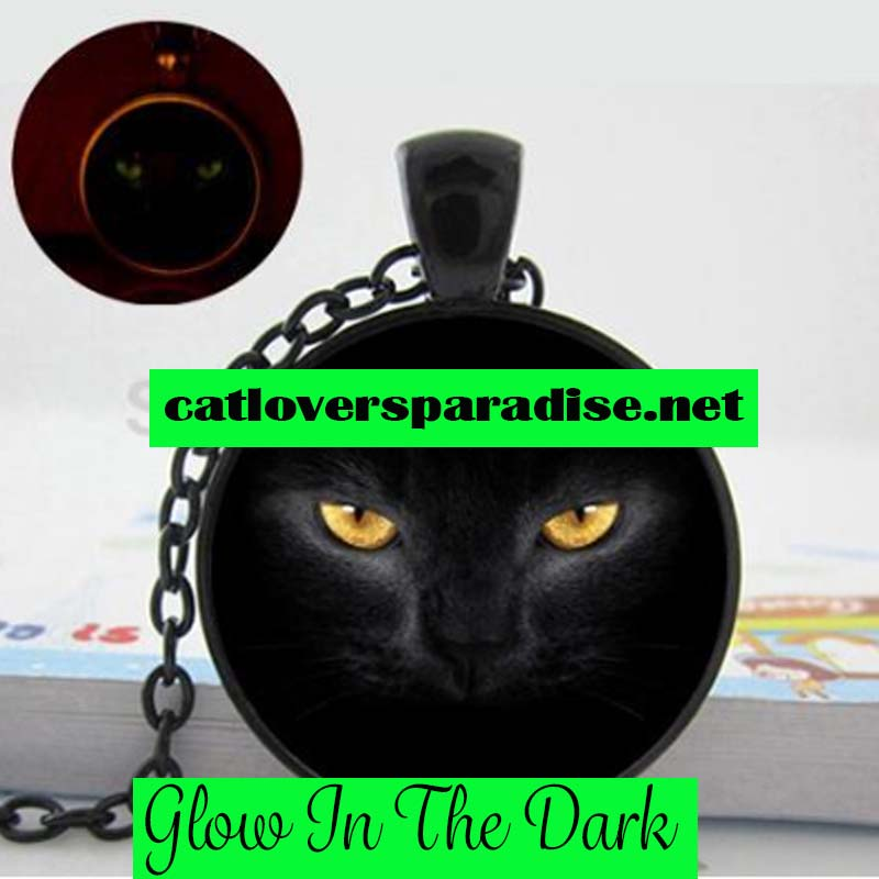 Glow In The Dark Black Cat Necklace