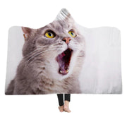 3-D Yawning Cat Hooded Blanket