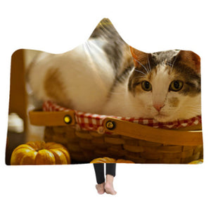 3-D Inquisitive Cat Hooded Blanket