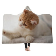 3-D Funny Curious Cat Hooded Blanket