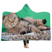 3-D Funny Bengal Cat Hooded Blanket