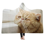 3-D Persian Cat Hooded Blanket