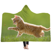 3-D Orange Kitten Hooded Blanket