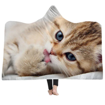 3-D Lick Kitten Hooded Blanket