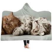 3-D Triple Cuteness Kitten Hooded Blanket