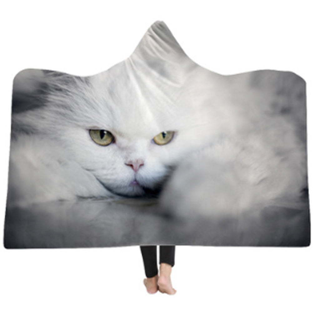 3-D Beautiful White Cat Hooded Blanket