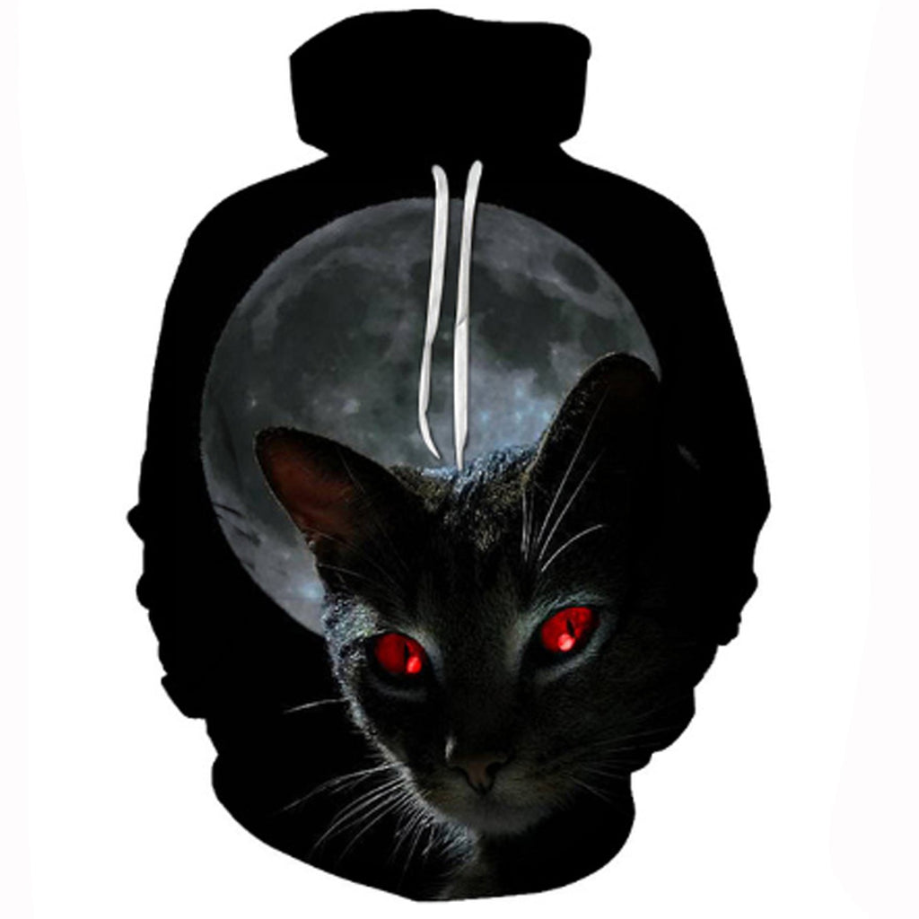 Black Cat Red Eyes 3-D Hoodie