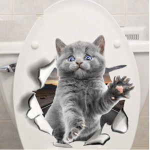 Cute Greetings Cat Toilet Sticker