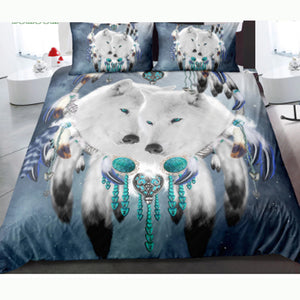 White Wolf Starry Sky  Bedding Cover Set