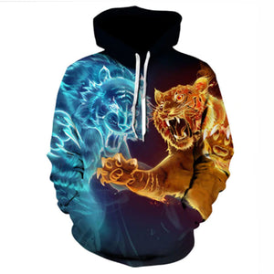 Fire And Ice Tiger 3-D Hoodie