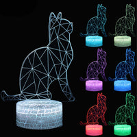 3-D Cartoon Cat LED 7 Color Changing Lamp