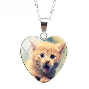 Funny Orange Cat Heart Necklace