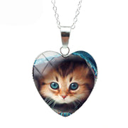 Blue Eyes Cat Heart Necklace