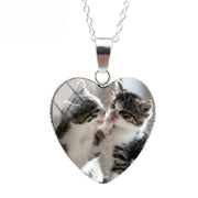 Double Cat Love Cat Heart Necklace