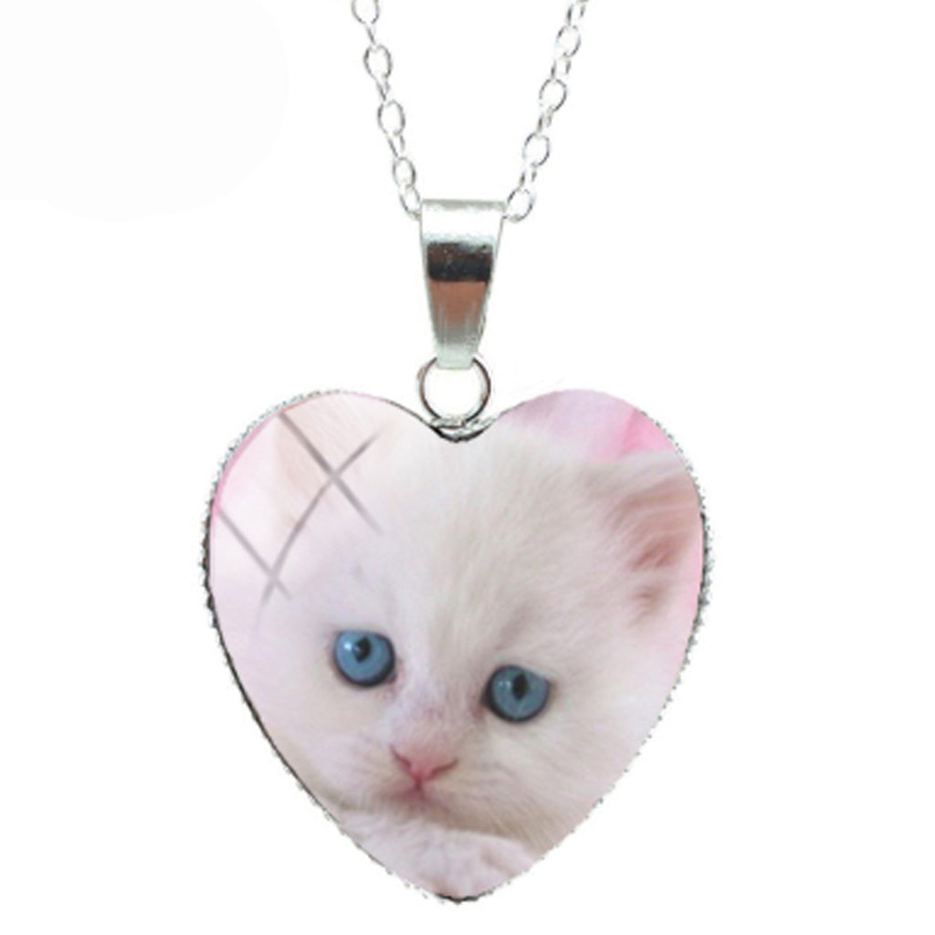 Blue Eyed White Cat Heart Necklace