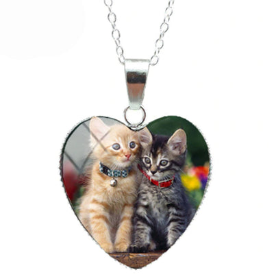 Orange And Maine Coon Cat Heart Necklace