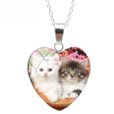 Double Cute Curious Cat Heart Necklace