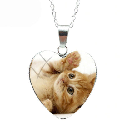 Playful Orange Cat Heart Necklace