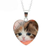 Sad Eyed Calico Kitten Cat Heart Necklace