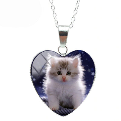Curious Kitten Cat Heart Necklace