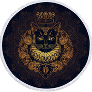 Royal Cat Queen Round Beach Towel