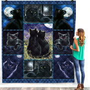 Beautiful Black Cat Moonlight Quilt