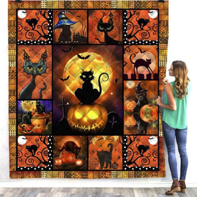 Black Cat Halloween Quilt