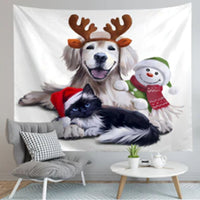 Christmas Cat And Dog Wall Tapestry