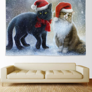 Double Cat Christmas Home Decoration Tapestry
