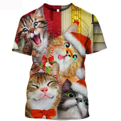 3-D Cat Christmas Shirt